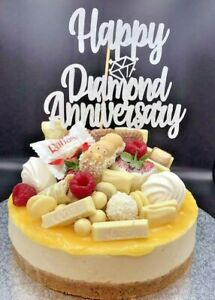 Cake-Topper-Diamond-Wedding-Anniversary-60-years-Silver-Glitter