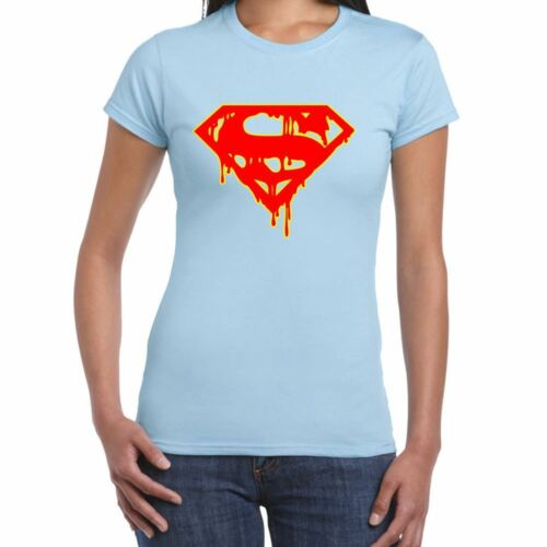Womens Funny T Shirts-Superman Inspired Dripping Blood Logo-Funny Gifts