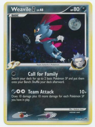 Pokemon Platinum Base Set Card # 17 Weavile G Holo Rare 4x pok-PL-017
