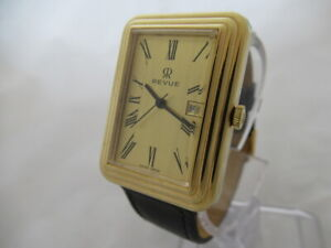 NOS-NEW-SWISS-MADE-AUTOMATIC-DATE-GOLD-PLATED-MEN-039-S-REVUE-ANALOG-VINTAGE-WATCH