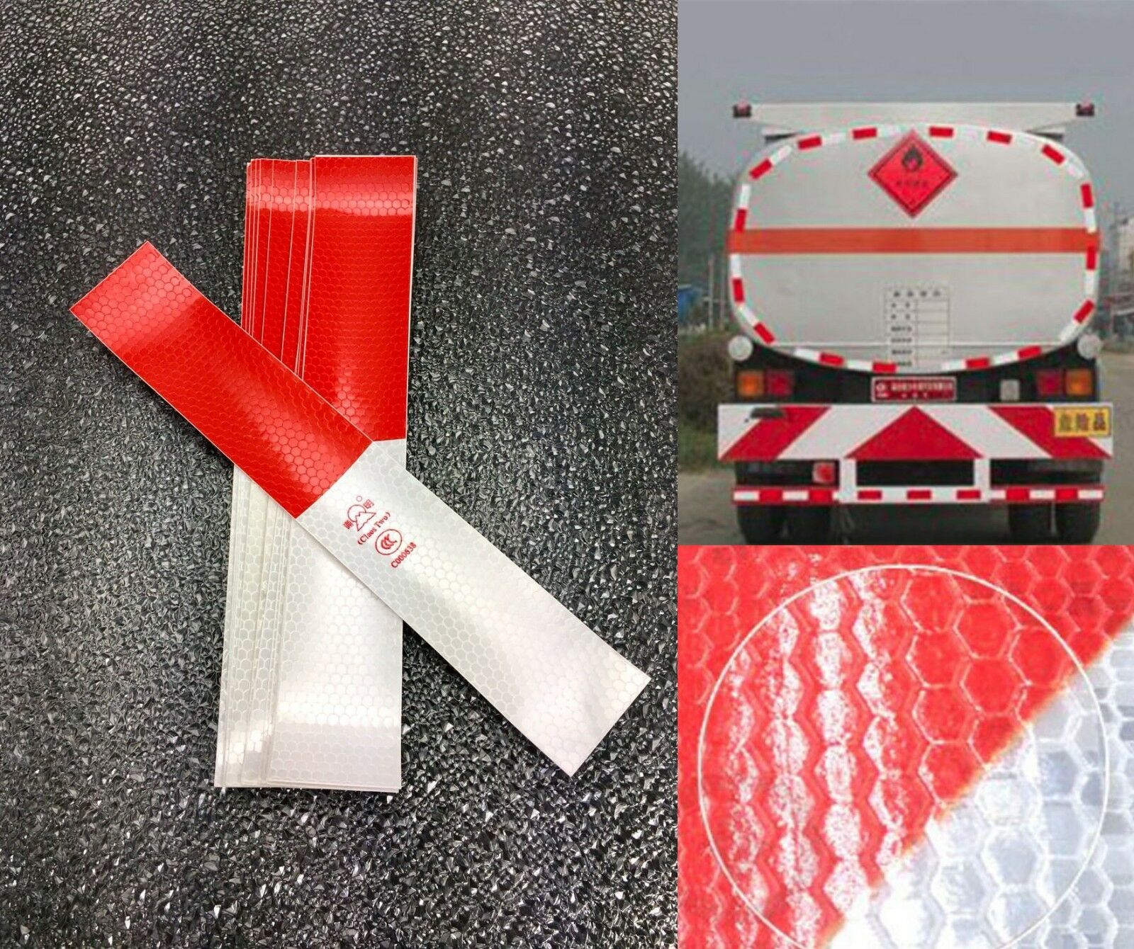 290mm 30pcs Waterproof Reflective Tape Red White Safety Warning Trailer RV