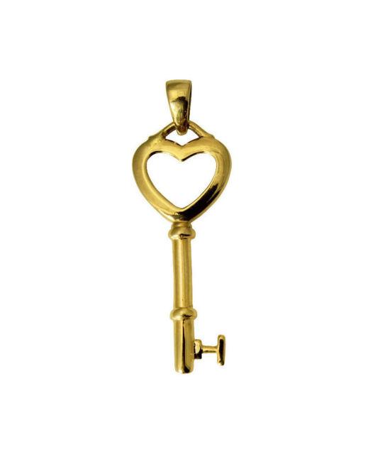 14k Yellow Gold Small Key Heart Pendant