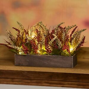 Lighted Harvest Box Planter With Artificial Plants Fall Autumn Centerpiece Ebay