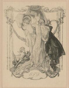Franz-von-Bayros-A-1866-1924-Erotica-Exlibris-Erotic-Cupid-Bookplate-54-1912