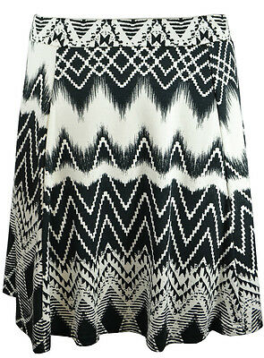 Monochrome Aztec Tribal Ladies Skirts Womens Flared Mini Skater Skirt 8-16