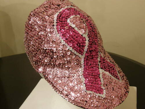 PINK SEQUIN BREAST CANCER CAP GREAT GLITTERING RIBBON HAT FOR CANCER WALKS NEW