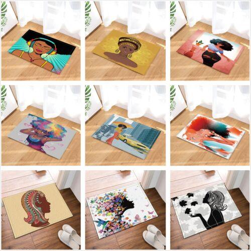 Afro African Woman Black Girl Non Slip Rug Carpet Bathmat Door Mat 16*24 Inches
