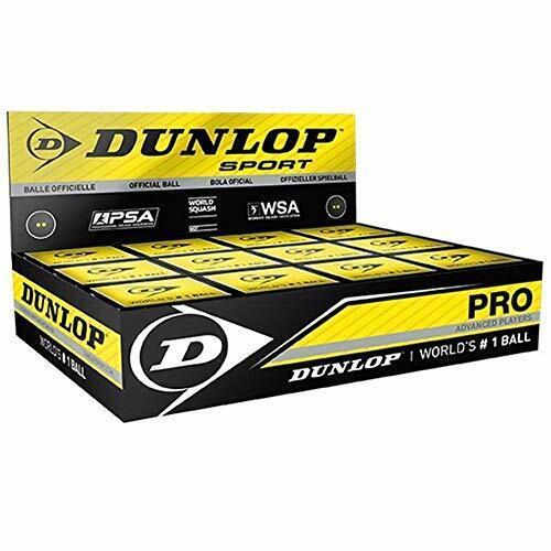 Box of 12 DUNLOP Pro Double Yellow Dot Squash Ball