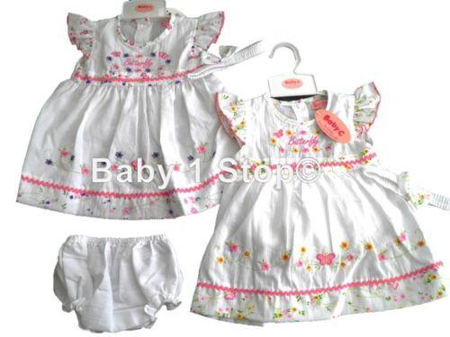 Baby filles robe /& culotte et bandeau joli papillon 6-12 12-18 18-24 Mois