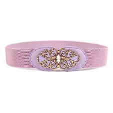 Women Ladies Buckle Wide Stretch Elastic Waist Belt Corset Waistband Purple
