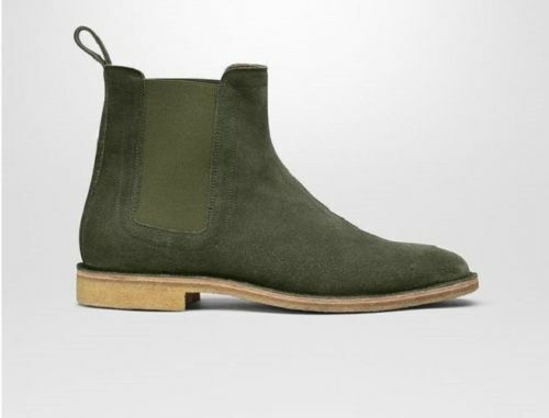 Mens Handmade Boots Leather Hunter Green Suede Chelsea Formal Wear Casual shoes