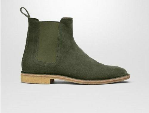 botas para hombre hecho a mano de cuero verde oscuro ante Chelsea Ropa Formal Zapatos Informales
