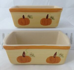 2 Stoneware Ceramic Mini Loaf Bread Pans Fall Autumn Pumpkins WCL