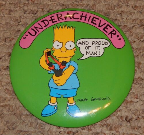 LARGE old Bart Simpson Underachiever The Simpsons Cartoon Pin OLD STORE STOCK