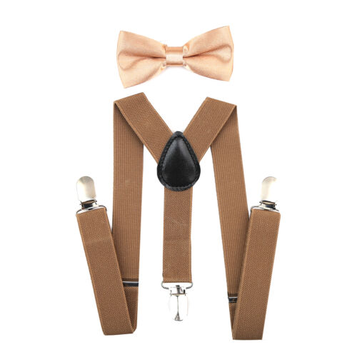 Y Back Elastic Kids Suspenders and Bow Tie Combo Set Adjustable Boys Girls New