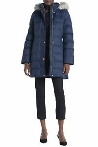 Anne-Klein-Womens-Faux-Fur-Hoodie-Puffer-Coat-Medium-Navy