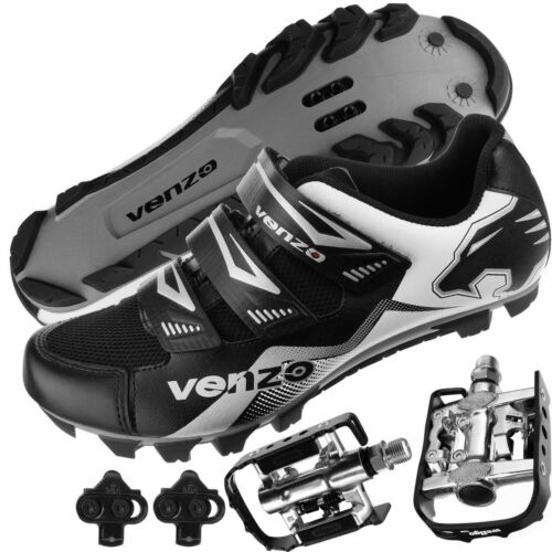 Venzo Mountain Bike Bicycle Cycling Shimano SPD Shoes + MultiUse Pedals
