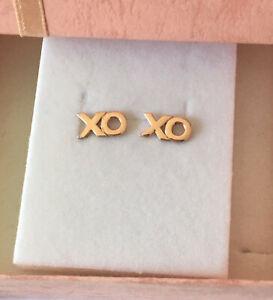 Sterling-Silver-Stud-Earrings-XO-Rose-Gold-Coated