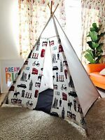 London Themed Fabric Beautiful Wigwam, Teepee Childrens Play Tent+ Cushion Cover