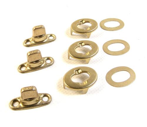 3 Pc. Common Sense Eyelet /& Stud Gilt Brass Finish Turn Button Fasteners