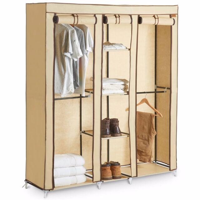 Canvas Storage Boxes For Wardrobes: VonHaus Triple Canvas Effect Wardrobe