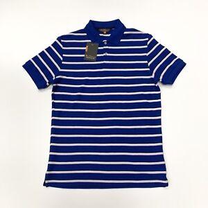 Ben-Sherman-Men-039-s-Striped-Short-Sleeve-Polo-T-Shirt-In-Blue-Size-S
