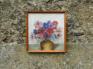 Tableau Nature Morte Huile Sur Panneau Bouquet D'anémones 65x54cm Signé N.harvey