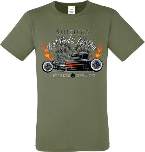 T Shirt im Olivton mit einem Hot Rod-,US Car-,`50 Stylemotiv Modell Shifter`s