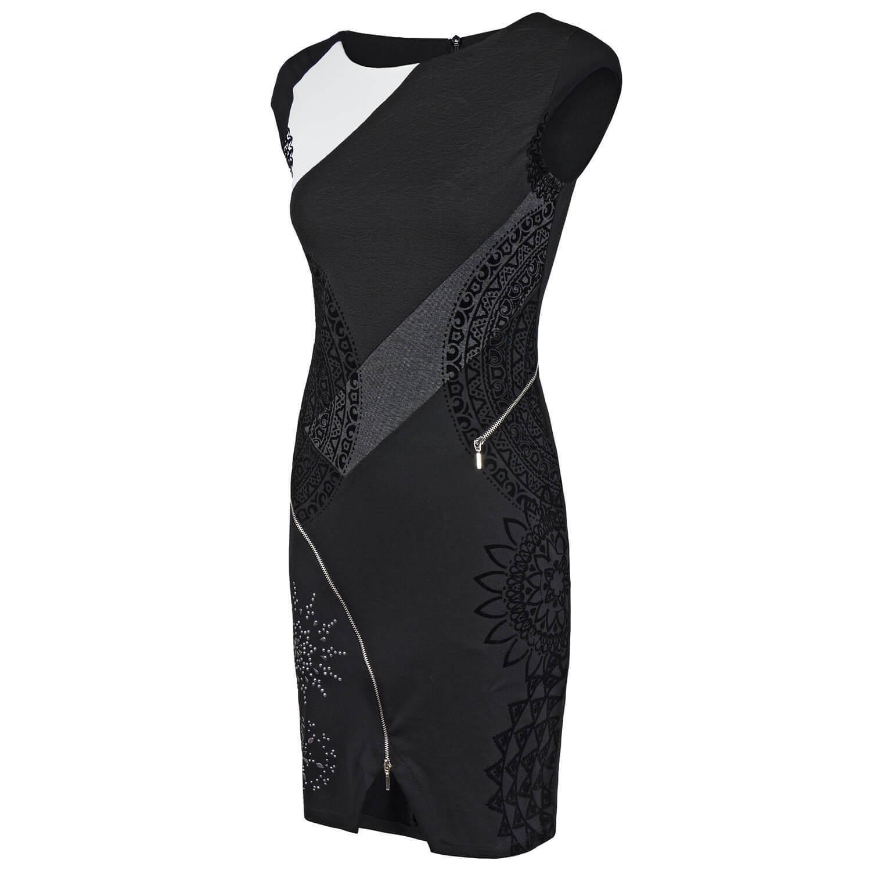 4673de6a7c9bac ... Desigual Kleid Etuikleid mit Reißverschluss Nieten Besatz Samptoptik  Samptoptik Samptoptik floral 80309e