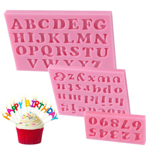 3Pcs//Set Silicone Mold Letter/&Number Fondant Cake Cooking Baking Tools Practical