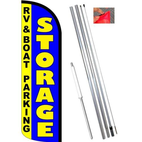 Rv Boat Parking Windless Feather Flag Kit Bundle Storage Flag, Pole, /& Ground