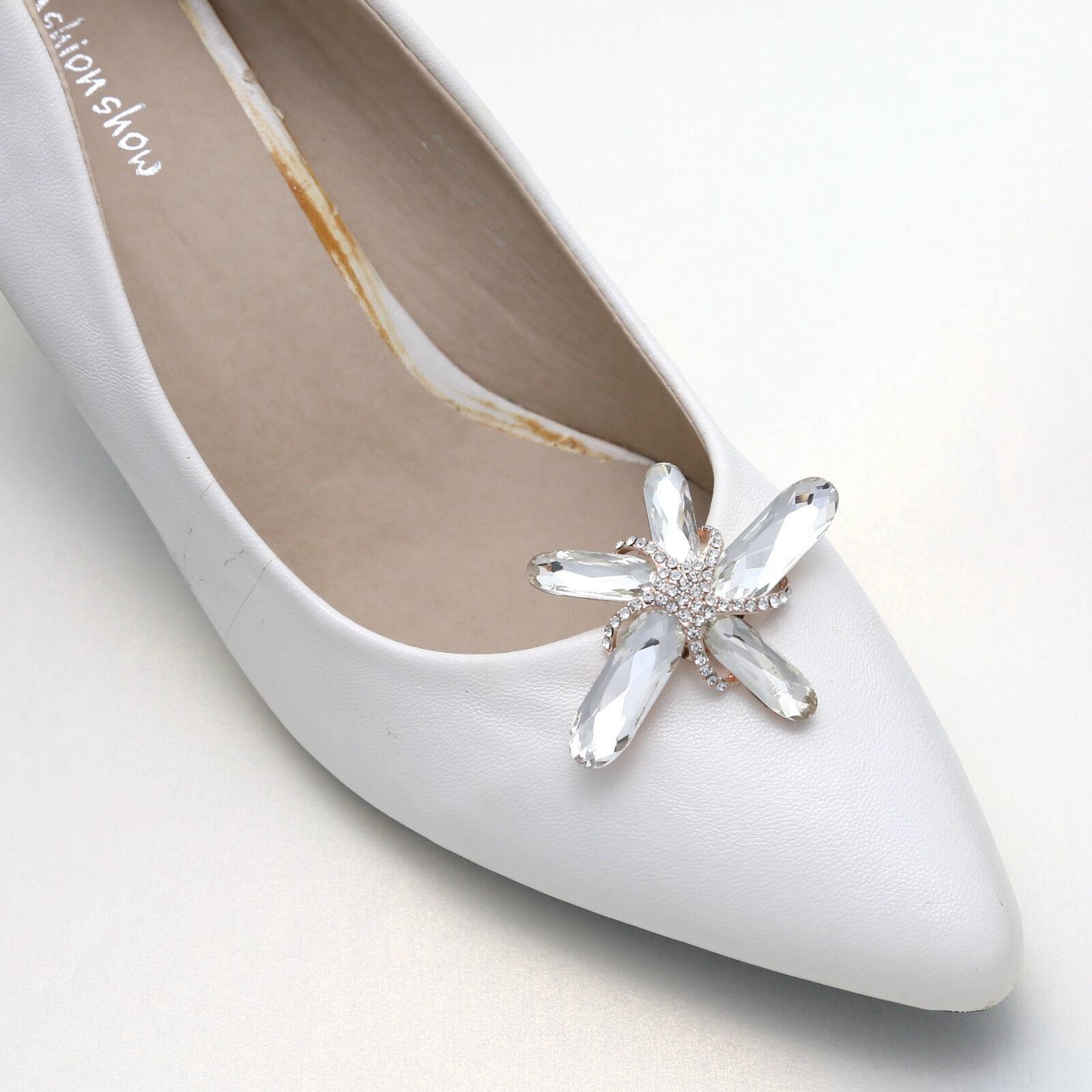 2 Pcs Multi Color Rhinestone Crystal Rainbow Starfish Star Wedding Shoe Clips