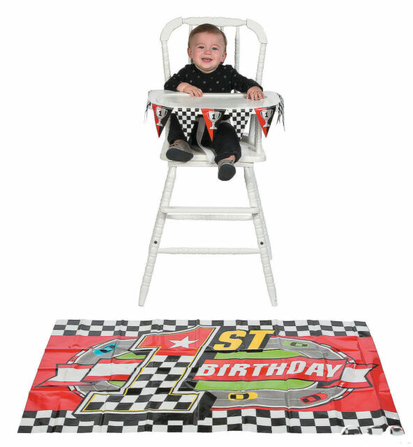 Racing Race Car 1st Birthday Party High Chair Decoration Set