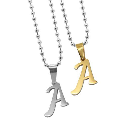 Bala cadena color plata collar remolque nombre la letra acero inoxidable a-z señora