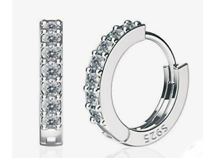 Pave Plata 925 aros Pequeño Aros Pequeño Aro Pendientes de Plata cristal de la CZ Huggie