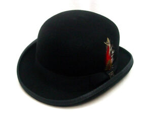 Mens Bowler Derby Classic Style Black Australian wool felt fully lined S-XXL