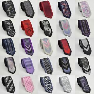 Nuevo-Para-Hombre-Slim-Skinny-Negro-Blanco-Rojo-Purpura-Cuello-Corbata-Boda-Corbata-Regalo-Lazos