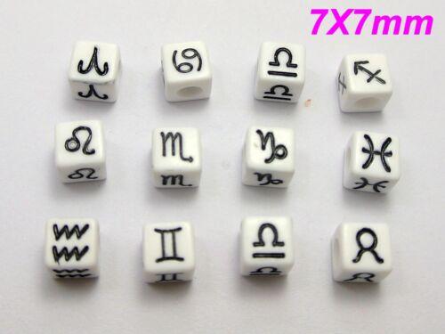 Assortiment de 250 12 Horoscope Acrylique Cube poney perles 7X7mm Couleur Choix