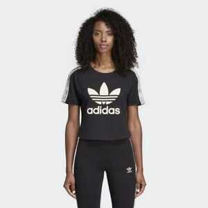 88ba1a88299b58 NWT Adidas Originals Women s Trefoil Crop Top Tee Shirt T-Shirt ...