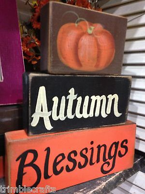 Autumn Blessings sign stacking chunky block set handmade Thanksgiving decor wood