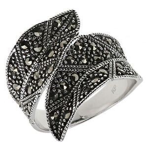 Damen-Ring-echt-Silber-925-Sterling-geschwaerzt-mit-Markasit-schwarz-Blatt-Design