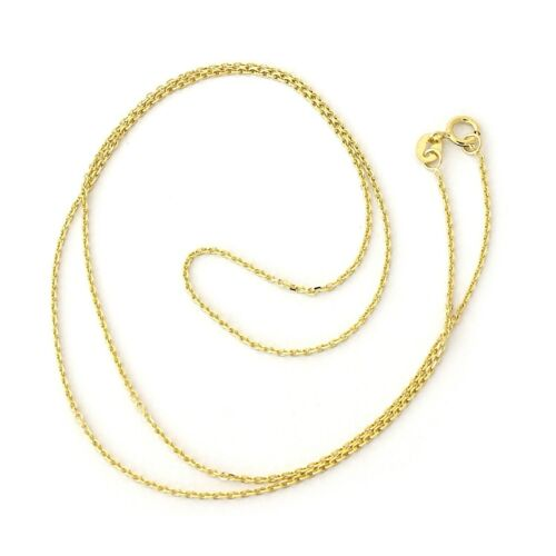 """13/"""" Beauniq Solid 14k Yellow Gold 1.1mm Cable Link Chain Necklace"""