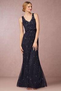 c2425387589 NEW! BHLDN Adrianna Papell Dark Navy Brooklyn Dress long Maxi beaded ...