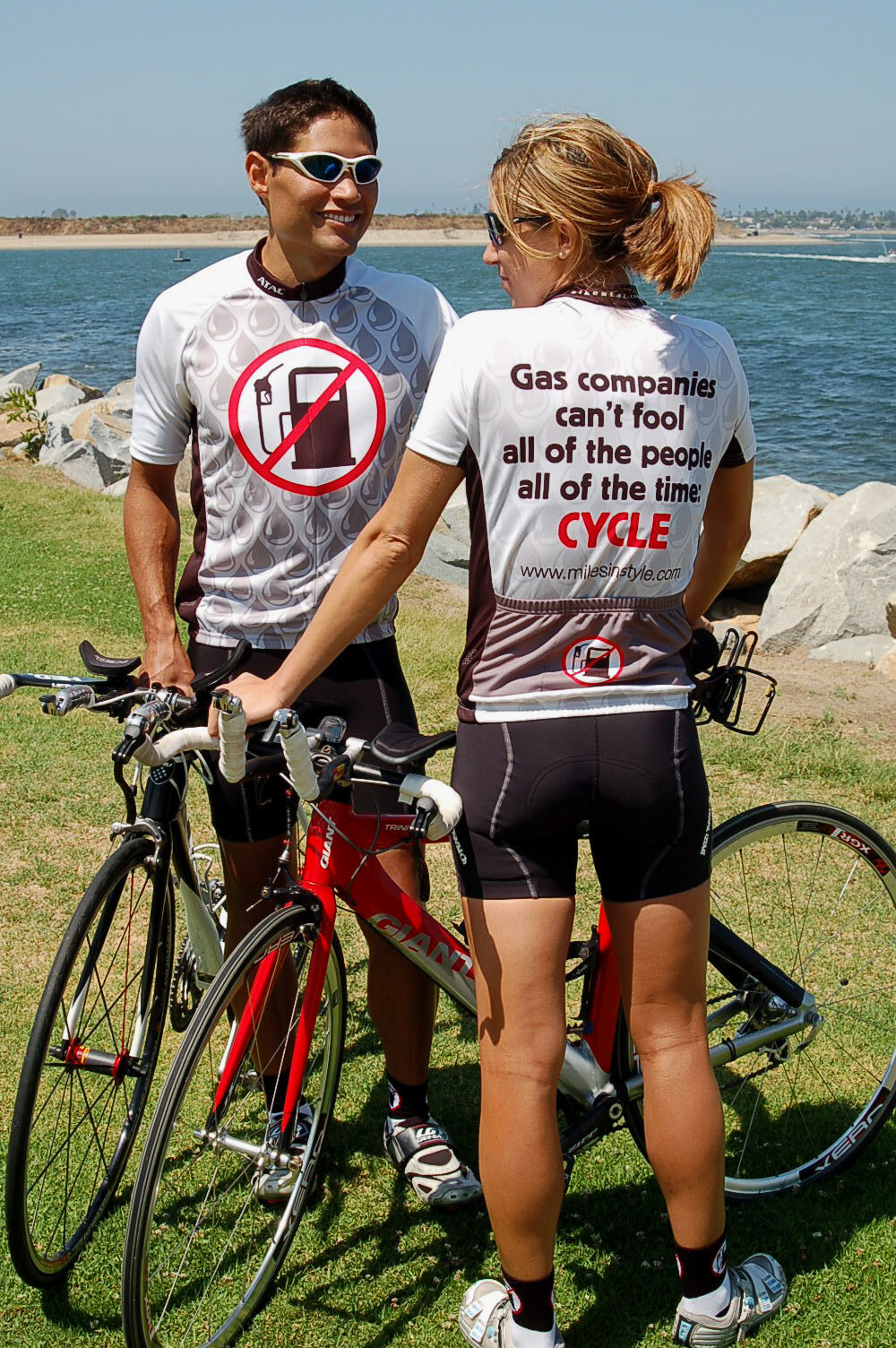 No Gas Pumps  Brand-New Funny Men's Bicycle Jersey
