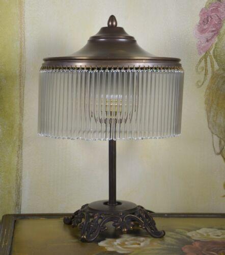 Antike Runde Glass Messing Tischleuchte Schreibtischlampe Leuchte Stil Retro