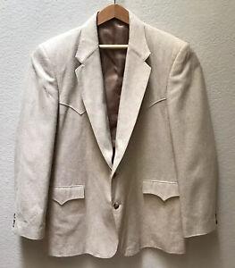 Circle-S-Western-Jacket-Cowboy-100-Silk-Blazer-Sport-Coat-2-Button-Beige-46L