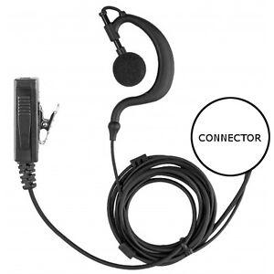 2-Wire Earhook Earpiece Clip-On PTT for Kenwood 2-Pin Series Two-Way Radios