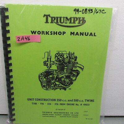 TRIUMPH  3TA 5TA T90 T100 GENUINE WORKSHOP MANUAL  1963 ONWARDS