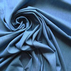 Blu-Medio-100-Cotone-Lavato-114ml-Denim-Tessuto-Morbida-Chambray-Stile-Al-Metro