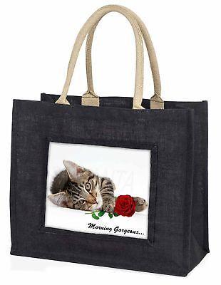 Kätzchen mit rosé 'Morgen wunderschön' große schwarze Einkaufstasche Chri